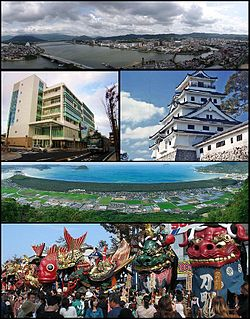 Top: View of Matsuura River and downtown Karatsu 2nd left: Oteguchi Bus Terminal, 2nd right:Karatsu Castle 3rd: Nijinomatsubara pine forest area Bottom: Karatsu Kunchi in November.