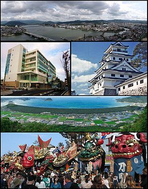 Karatsu, Saga - Top: View of Matsuura River and downtown Karatsu 2nd left: Oteguchi Bus Terminal, 2nd right:Karatsu Castle 3rd: Nijinomatsubara pine forest area Bottom: Karatsu Kunchi in November.