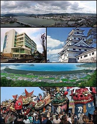 Karatsu, Saga - Top: View of Matsuura River and downtown Karatsu 2nd left: Oteguchi Bus Terminal, 2nd right:Karatsu Castle 3rd: Nijinomatsubara pine forest area Bottom: Karatsu Kunchi in November.