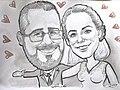 Karikatur einer Hochzeit von Karikaturist LEONARDO Burach, Schweiz.jpg