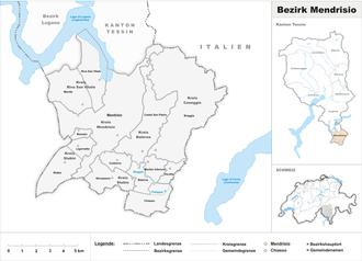 Mendrisio District - Image: Karte Bezirk Mendrisio 2009 2