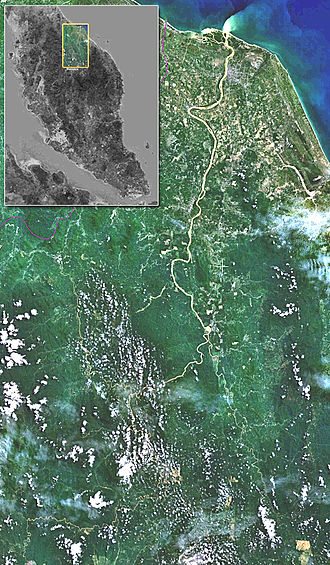 Kelantan River - Satellite view of the Kelantan River (Landsat 7 images viewed using NASA World Wind software)