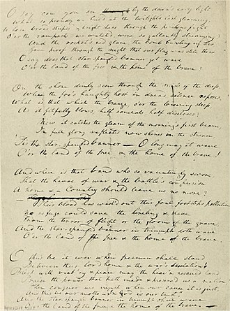 "The Star-Spangled Banner - Francis Scott Key's original manuscript copy of his ""Defence of Fort M'Henry"" poem. It is now on display at the Maryland Historical Society."