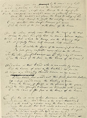 "Francis Scott Key's original manuscript copy of his ""Defence of Fort M'Henry"" poem. It is now on display at the Maryland Historical Society. KeysSSB.jpg"