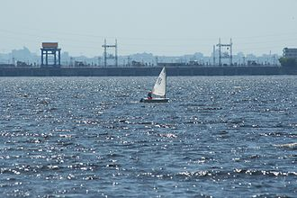 Kiev Reservoir - Image: Kiev Reservoir Girl Sails Optimist Dinghy