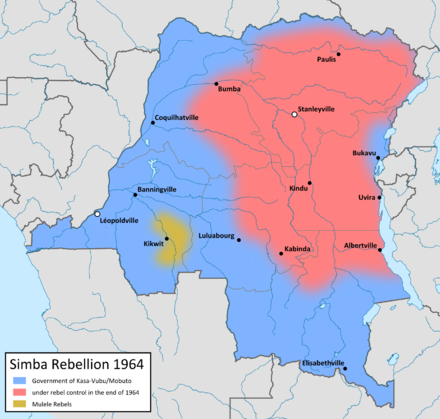 Map showing the territory controlled by the Simba (red) and Kwilu (yellow) rebels, 1964 Kongo 1964 map en.png
