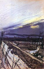 View of Kościuszko Mound from the artist's atelier during the thaw