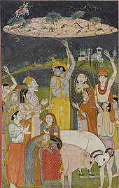 Krishna holding Govardhan hill as depicted in Pahari painting