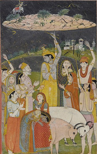 Indra - Krishna holding Govardhan hill from  Smithsonian Institution's collections