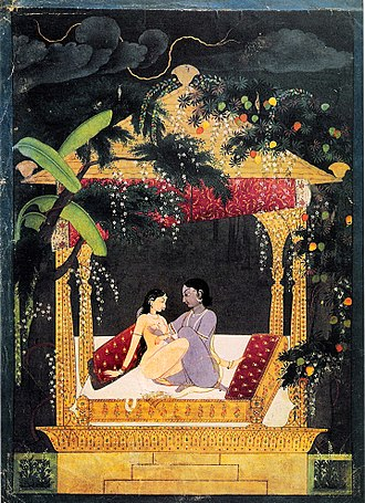 Indian painting - Krishna and Radha in a Pavillion, 18th century, Pahari style.