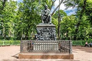 Summer Garden - The monument to Ivan Krylov in Summer Garden