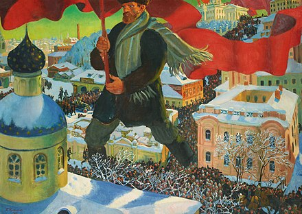 The painting Bolshevik by Boris Kustodiev depicts a Bolshevik revolutionary, bearing the red flag, glaring at an Eastern Orthodox church