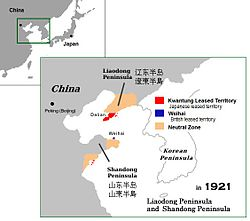Kwantung Leased Territory in 1921. Area of influence and neutral zone.