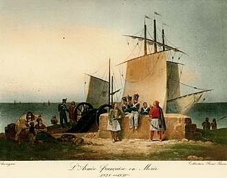Morea expedition - French soldiers lounging about in discussion with Greeks