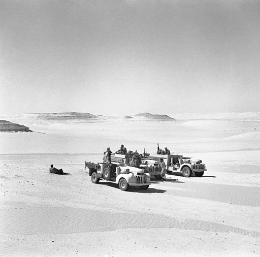 LRDG (Long Range Desert Group) Chevrolet 30-cwt trucks, 25 May 1942. E12385