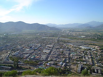 La Calera, Chile - Panoramic view of downtown La Calera, forming a triangle from the Lafarge Plant to the Urban Park, and to Artificio, travesed by the Aconcagua River