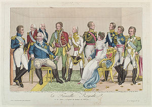 Bourbon Restoration - Popular colored etching, verging on caricature, published by Décrouant, early 19th century: La famille royale et les alliées s'occupant du bonheur de l'Europe (The Royal Family and the Allies concerned with the Happiness of Europe)