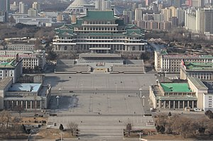 Kim Il-sung Square - Image: Laika ac Juche Tower (12108772354)