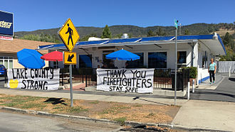 Valley Fire - Public support for firefighters in Lucerne, Lake County