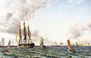 Emanuel Larsen - Image: Larsen Linieskibet Valdemar krydser Sundet ind for en frisk bramsejlskuling 1856