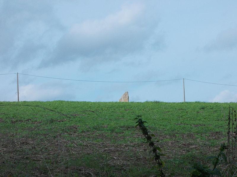 De menhir van Ozo, vanaf het wandelpad aan de (zuid)oostkant