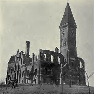 Leander Clark College - Ruins of the first college building at Toledo, Iowa, after the fire of 1889.