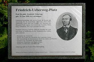 Friedrich Ueberweg - Friedrich Ueberweg (Plaque on Friedrich-Ueberweg-Platz, at the corner of Marktstraße and Mittelstraße in Leichlingen)