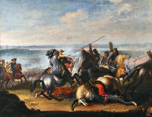 Swedish King Charles X Gustav in skirmish with Polish Tatars near Warsaw 1656