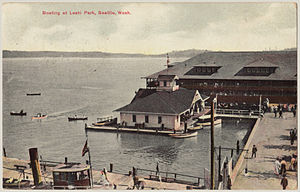 Leschi Park (Seattle) - Leschi Park, 1911, showing steamboat at dock and relationship between the steamboat dock and other marine structures at the park.