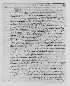 Gabriel Jones (Virginia) - Jones maintained correspondences with George Washington, as evidenced in this June 6, 1777 letter written by Jones to Washington.