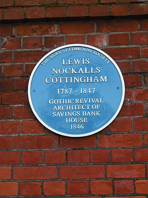 Lewis Nockalls Cottingham - Plaque to Cottingham at Bury St Edmunds.
