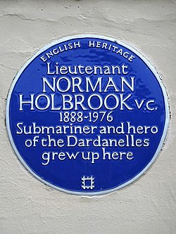 Lieutenant norman holbrook vc 1888 1976 submariner and hero of the dardanelles grew up here
