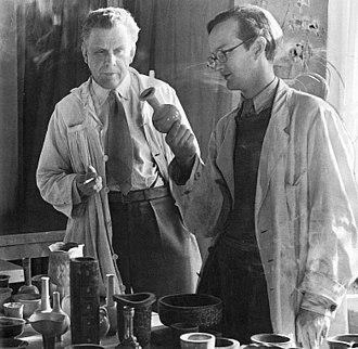 Stig Lindberg - Wilhelm Kåge and Stig Lindberg (right), Gustavsberg, ca 1938