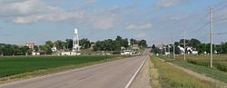 Lindsay, seen from the west on Nebraska Highway 91