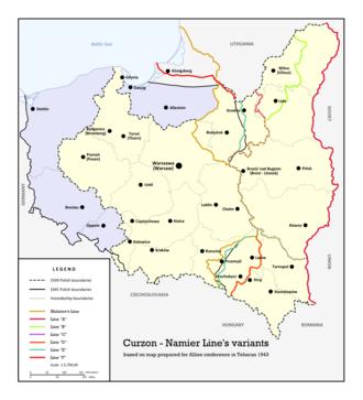 Polish–Soviet border agreement of August 1945 - Curzon-Namier Line's variants. Tehran, 1943