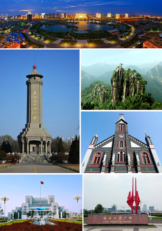 Linyi - Clockwise from top: A view of the Beicheng New District skyline, Mount Meng, Cathedral of Linyi, Linyi People's Square, The Library of Linyi University, and The Memorial Tower of Revolutionary Martyrs