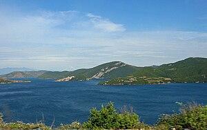 Vau i Dejës - Lake of Vau i Dejës with Shurdhah Island, Albania
