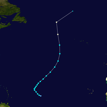 Storm path of Hurricane Lisa. It starts in the Atlantic Ocean nearly halfway between Africa and the Lesser Antilles; Lisa moves generally northward direction and in a quick motion before ceasing to exist hundreds of miles north of the Azores