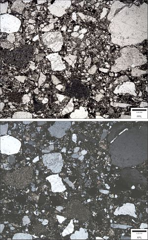Greywacke - Photomicrograph of a lithic wacke (sandstone). Top image is in plane polarized light (PPL); bottom image is in cross polarized light (XPL). Blue epoxy fills pore spaces.