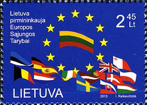 Lithuania presidency EU stamp 2013