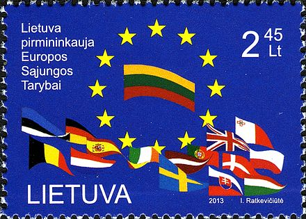 The stamp is dedicated to Lithuania's presidency of the European Union. Post of Lithuania, 2013. Lithuania presidency EU stamp 2013.jpg