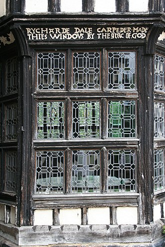 Little Moreton Hall - Section of the Withdrawing Room's bay window, showing the patterning of the panes