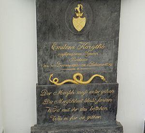 Emil Korytko - The gravestone of Emil Korytko at Navje, with the German verses written by France Prešeren