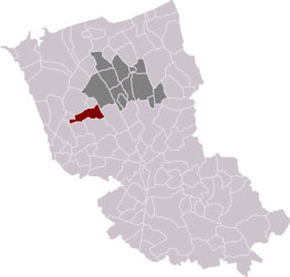 Location of Eringhem in the arrondissement of Dunkirk