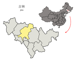 Location of Changchun City (yellow) in Jilin (light grey) and China