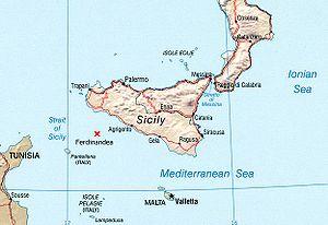 Empedocles (volcano) - Image: Location of Ferdinandea