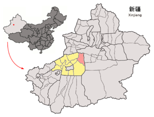 Kucha - Location of Kucha within Xinjiang with the county of Kucha in pink, and the prefecture of Aksu in yellow.