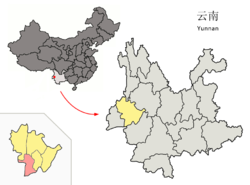 Location of Longling County (pink) and Baoshan City (yellow) within Yunnan