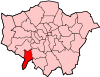 Location of the London Borough of Kingston upon Thames in Greater London