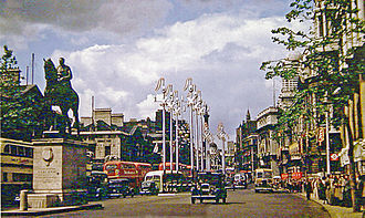 Whitehall - Whitehall, looking north in 1953, with the Earl Haig Memorial in the middle of the carriageway.